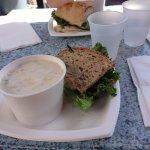 Clam chowder and tuna sandwich