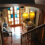 View from staircase down to the entrance/lobby.