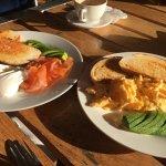 Salmon, avocado & poached eggs. Scrambled eggs and avocado.