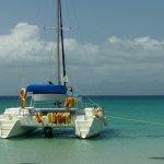 este catamaran tiene baño y te dan comida y bebida fresca con la excursion
