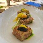 Salmon with caviar finger lime quail egg