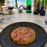 Risotto with red Sicilian carpaccio prawns