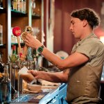 """Bartender Jon Pouring house-beer """"Baby Face Brown Ale"""" *Cortney Kelly Photography*"""