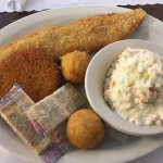 Daily special: snowfish, crab cake, slaw, and hush puppies.