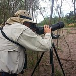watching macaws with our spotting scope