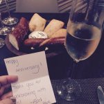 Anniversary note and complimentary bubbly