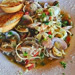 Clams, pasta, garlic extra virgin with a little white wine, lemon and fresh herbs...