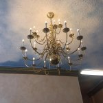 chandelier over the mezzanine stairs