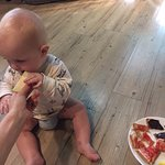 Even the smallest dudes enjoy the breakfast!