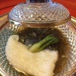 Salad of vinegared mozuku seaweed, mountain yam 'noodles', angelica shoot, ginger juice