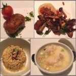 Pomelo flesh, fried rice w wagyu beef and foie gras, lobster w steam silky egg white