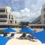 View of Hotel from sunbed on the beach.