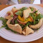 Stromboli Insalata – salt/pepper calamari with mango, cherry tomatoes, lime/chilli dressing