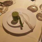 Wild garlic & potato soup, asparagus