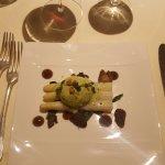 Poached free-range hen's egg, asparagus, morel ketchup