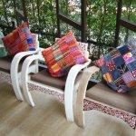 Gorgeous painted Thai furniture in the sitting room
