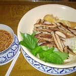 Rice noodle bowl with pork
