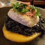 Baked Hake with Squid Ink Risotto & Butternut Squash