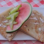 Pancakes with Maple Syrup, Watermelon , Star Fruit and Passion Fruit