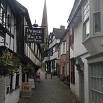 Prince o Wales, Church Lane, Ledbury with spire of St. Michael church in background