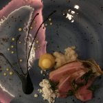 """""""Slow Cooked Duck: Nostalgia"""" Galangal Soy, """"Chicken Rice"""", Ginger Snow."""