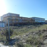 Looking back at Best Western from the beach area