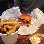 'Hot chic' chicken burger & chips with roast chicken mayo and chicken skin salt
