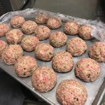 Making 80z meatballs with handmade pasta for tonight