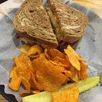 Reuben Sandwich with BBQ Chips and Pickle