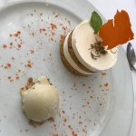Carrot cake with ginger ice cream