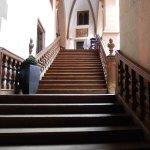 Treppe zum Cafe im Haus Heuport