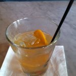 Peach, bourbon, vermouth, not sure what to call it other than dealer's choice.
