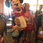 Minnie visiting at our table.