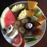 A fruit platter as part of breakfast at Epiphyte B&B