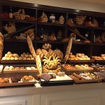 Breakfast buffet. All kinds of baked goods.