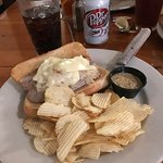 Bratwurst Sandwich with chips