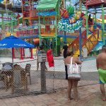 The outside area of the water park