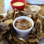 Thin strips of potato skins fried, with an assortment of sauces. The pico de gallo was my favori