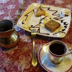Baklava and Turkish coffee.