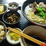 Soki soba - soup is pork and chicken based with pork bone, rice, some sides