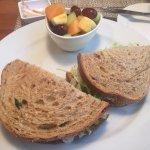 Chicken salad sandwich & fruit