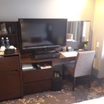 TV, working desk with three way mirrors