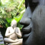 Beautiful Buddha's in the lobby garden