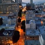 Dusk view of Powell St & Bay/Coit Tower from 26th floor--how super!!!