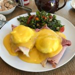 Scrummy eggs benedict with ham & side salad