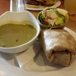 I had the special of the day: Spinach & Apple Soup with a Wrap - crab, wasabi, tomatoes, lettuce