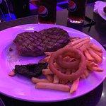 Rib eye steak, mushroom, chips