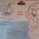 kids menu serving three dining areas