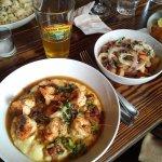 Seared shrimp, cheddar mash & bean salad