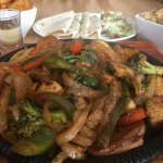 Vegetable Fajita, with sides of rice & wedges